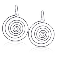 925 Sterling Silver Polished Finish Swirl French Wire Dangle Earrings