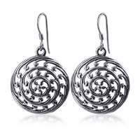 925 Plain Sterling Silver Round French Wire Dangle Earrings #LWES038