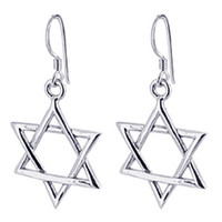 925 Sterling Silver Star French Hook Dangle Earrings