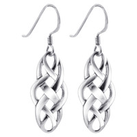 925 Sterling Silver Celtic Knot French Hook Dangle Earrings