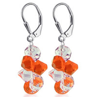 925 Sterling Silver Made with Swarovski Elements Orange and Clear Crystal Cluster Style Handmade Leverback Dangle Earrings