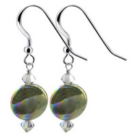 925 Sterling Silver Made With Swarovski Elements Dyed Abalone and Crystal Handmade Drop Earrings #SCER428