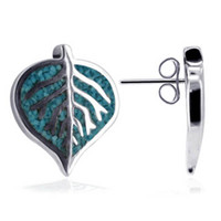 Sterling Silver Southwestern Style Turquoise Leaf 14 x 10mm Stud Earrings