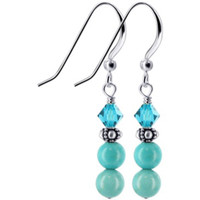 925 Sterling Silver Made With Swarovski Elements Turquoise Stone Bali Bead and Blue Crystal Handmade Drop Earrings