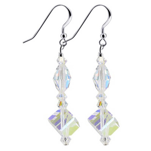 925 Sterling Silver Made With Swarovski Elements Clear AB Crystal Handmade Dangle Earrings