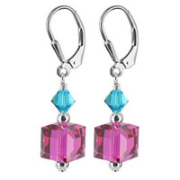 925 Sterling Silver Made With Swarovski Elements Fucshia Turquoise Blue Color Crystal Handmade Leverback Drop Earrings