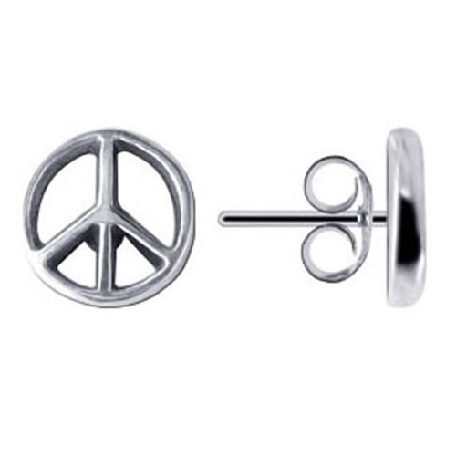 stud sign peace symbol silver sterling hippie earrings cz pin