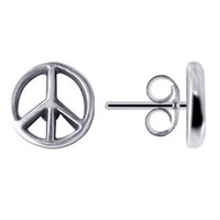 Plain Sterling Silver Peace Sign Post Back 8mm Stud Earrings