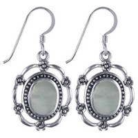 925 Sterling Silver Mother of Pearl Wavy Design French Hook Dangle Earrings