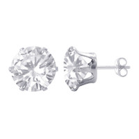 Sterling Silver 9mm Round Clear April Birthstone CZ Stud Earrings