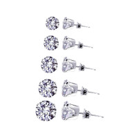 Sterling Silver Set Consist 3mm to 7mm Round Stud Earrings