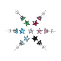 925 Sterling Silver Set of 7 Colors 4mm Star Post Back Stud Earrings