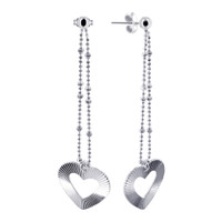 925 Sterling Silver Open Heart on Chain Back Post Dangling Earrings