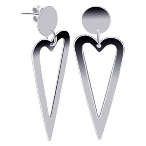 925 Sterling Silver 17mm Wide Open Heart Post Back Drop Earrings