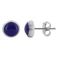 925 Sterling Silver Simulated Blue Lapis Lazuli Gemstone Stud Earrings