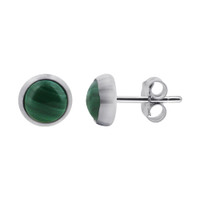 Sterling Silver 5mm Malachite Green Stud Earrings