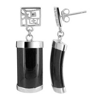 925 Sterling Silver Black Onyx with Chinese Letter Drop Earrings