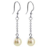 Sterling Silver Long Chain 1 inch 7mm Pearl Dangle Earrings #PJES001