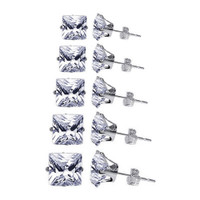 Sterling Silver 3mm to 7m Square CZ Stud Earrings Set Consist