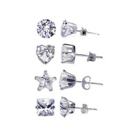 925 Sterling Silver 5mm Round Heart Star Square Clear April Birthstone Cubic Zirconia Stud Earrings Set #TDEZ-RHSP-5MM