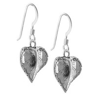 925 Sterling Silver Heart Shape Leaf French Hook Dangle Earrings