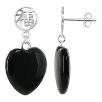 925 Sterling Silver 14mm Heart Black Onyx Gemstone with Chinese Good Luck Symbol Post Back Drop Earrings #PNES024