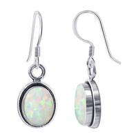 925 Sterling Silver Oval Created White Opal Gemstone French Drop Earrings
