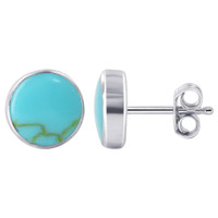 Sterling Silver Reconstituted Blue Turquoise Post back Stud Earrings