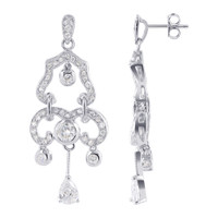 Sterling Silver Clear Cubic Zirconia Chandelier Earrings