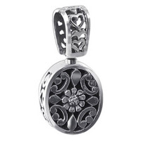925 Sterling Silver Oval Vintage Style Reversible Pendant