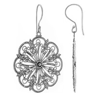 925 Sterling Silver Floral Design French Hook Drop Earrings