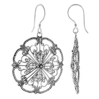 925 Sterling Silver Floral Design French Hook Drop Earrings #YSES009