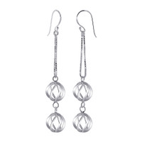 925 Plain Sterling Silver 11mm x 12mm Two Swirled Spheres French wire Dangle Earrings #NNES033