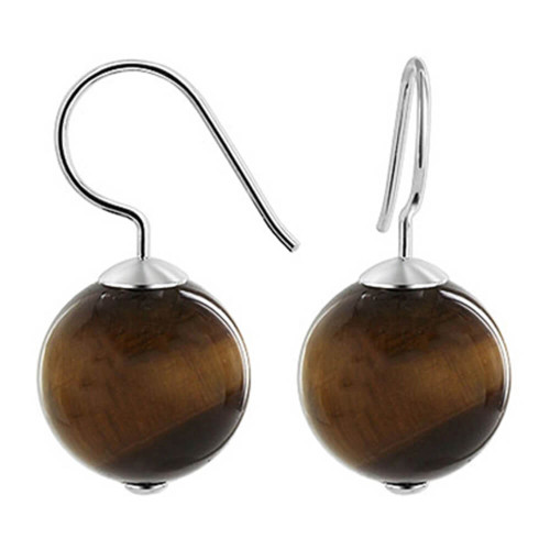 925 Sterling Silver 14mm Round Grade A Tiger Eye French Wire Drop Earrings
