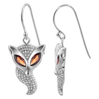 925 Sterling Silver Marquise Garnet Color Cubic Zirconia with accents Fox Drop Earrings #UCES003