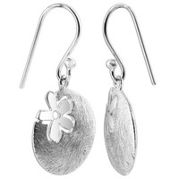 Sterling Silver Scratch finish Disc with Dangle Earrings