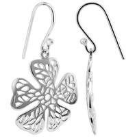 Sterling Silver 23mm x 22mm Flower French wire Drop Earrings