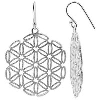 925 Sterling Silver Geometric Snowflake with Scratched finish French wire Drop Earrings #CBES003