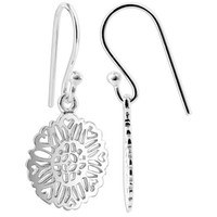Sterling Silver 14mm Flower French wire Drop Earrings
