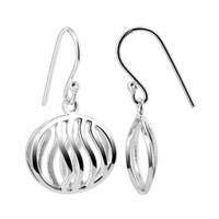 925 Plain Sterling Silver 17mm x 15mm Oval with Wavy design French wire Drop Earrings #CBES007