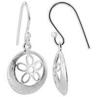 Sterling Silver Scratched Circle Flower Dangle Earrings