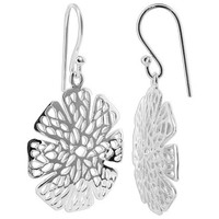 Sterling Silver 1 x 1 inch Flower Design French wire Drop Earrings