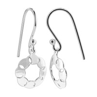 925 Sterling Silver Round 12mm with Octogonal cut out unique design French wire Drop Earrings