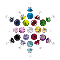 925 Sterling Silver Set of 13 Colors 4mm Round Post Back Stud Earrings
