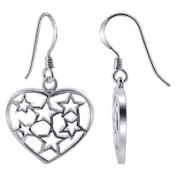 925 Plain Sterling Silver Heart with Stars Design French Hook Drop Earrings #ELES011