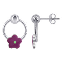 Sterling Silver Flower Multi Enamel hoop with ball Post Earrings