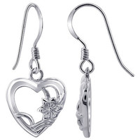 925 Plain Sterling Silver Heart with Flower French Hook Drop Earrings #ELES012