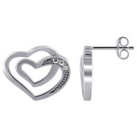 Rhodium Plated Over 925 Sterling Silver Double Open Heart with 1mm Round Cubic Zirconia Post Back Earrings