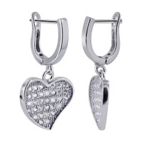 Rhodium Plated Sterling Silver Heart CZ Dangle Earrings #LHES005