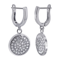 Rhodium Plated Over 925 Sterling Silver 13mm Round with 1mm Clear Cubic Zirconia Dangle Earrings #LHES006